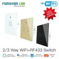 Commutateur tactile WiFi intelligent RF433  2 3 voies  commande via application Tuya  commande vocale Alexa Google Home  1 2 3 voies