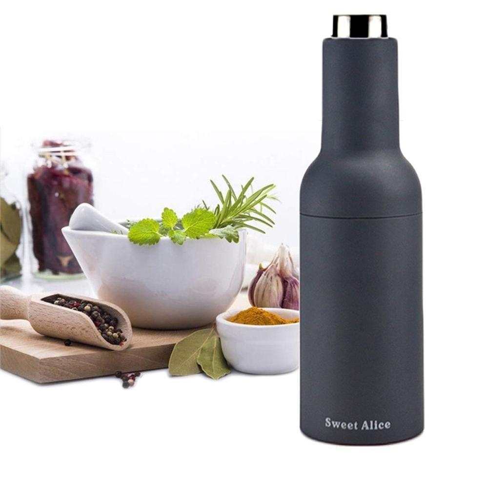 Black Sweet Alice Gravity Electric Salt and Pepper Grinder Set, Adjustable Grind Coarseness, Automatic Pepper and Salt Mill