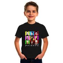 Children Horror Movie Friends Print T-shirt Boys Girls Funny Gaphic Tee Tops Casual Kids T Shirts To