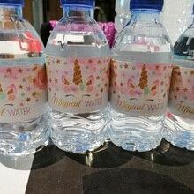 Autocollants licorne sirène bouteille deau   Étiquette de bouteille, arc-en-ciel, décoration de fête danniversaire, pour enfants, faveurs de réception-cadeau pour bébé, bricolage, 1 ensemble