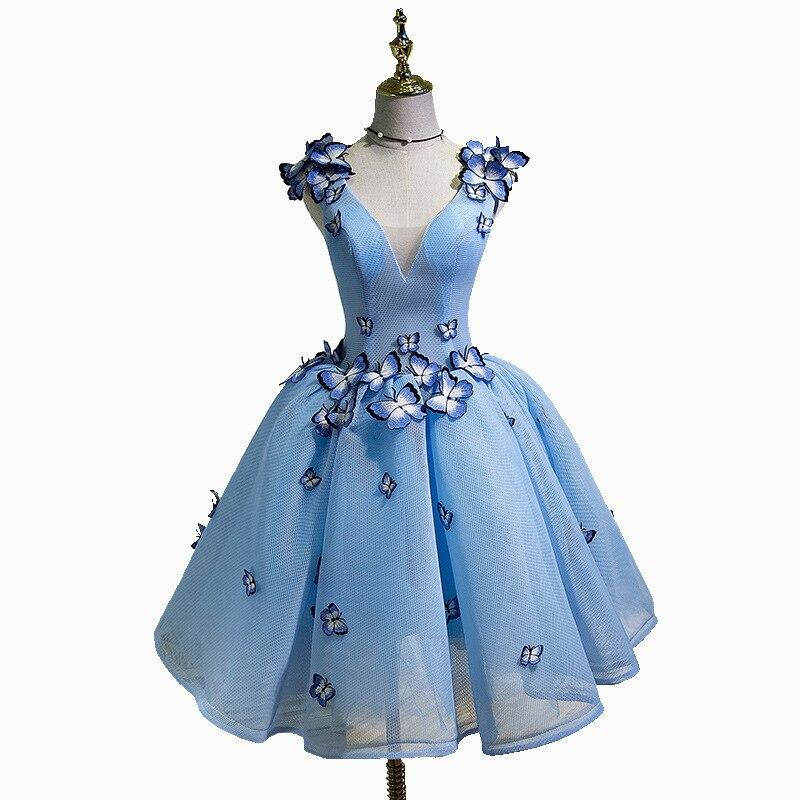 فستان سهرة بفراشات زرقاء للفتيات زملاء الدراسة لحفلات التخرج وحفلات أعياد الميلاد فستان قصير ضيق أحمر للحفلات النسائية A244