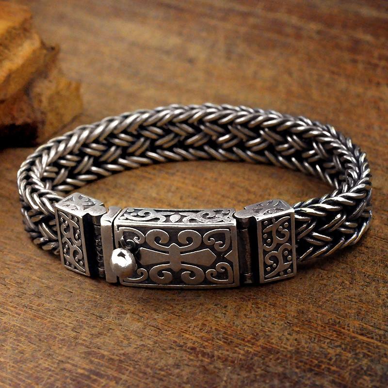 Real 925 prata esterlina pulseira masculina de largura 11mm retro punk rock fio corrente e pulseira masculino thai prata jóias presente