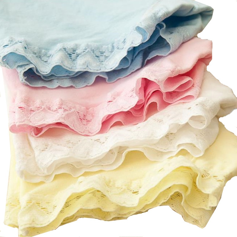 5pcs/Lot Cutyome Kids Safty Shorts Panties Pure Cotton Solid Lace Boxers Underwear for Girls Boutique Underpants