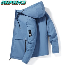New Spring Autumn Fashion Jacket Men Kroean Loose Fit With Hood Zipper Pockets Solid Color Streetwea