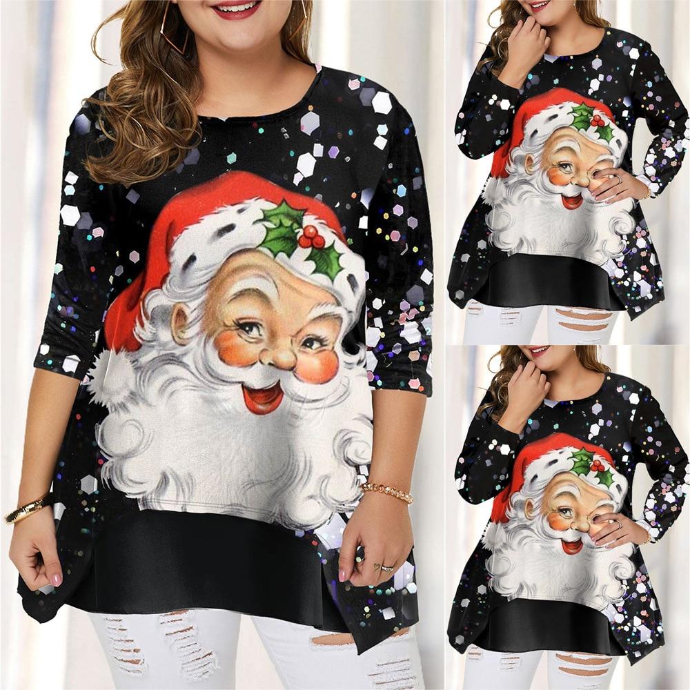 Camisetas con estampado de Navidad de Talla Grande para Mujer, Ropa holgada...