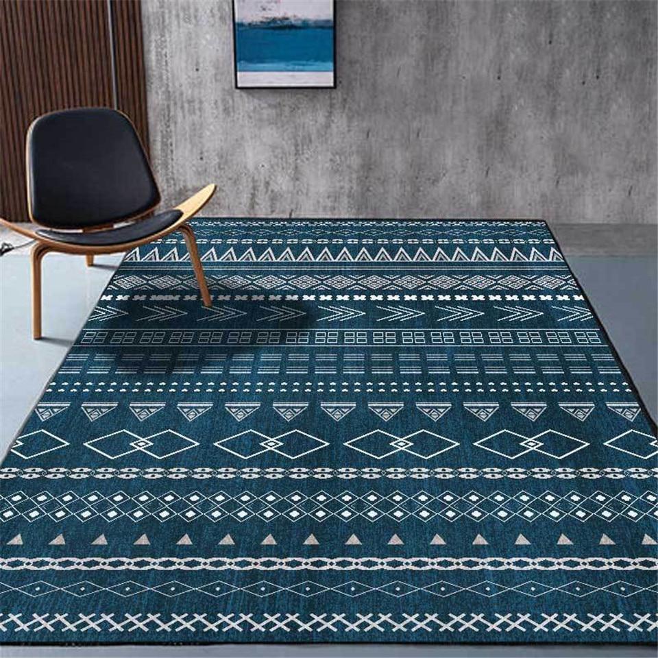 الأزرق بوهو السجاد البساط غرفة المعيشة الطازجة العرقية نمط أنماط هندسية السجاد منطقة بسيطة البساط لغرفة النوم المطبخ الكلمة حصيرة