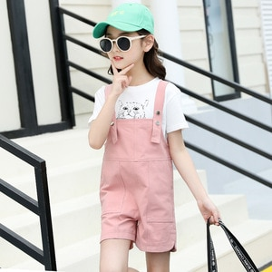 Girls' Summer Suits New Fashion Middle And Large Children's Short Sleeve T-shirt + Overalls Suits