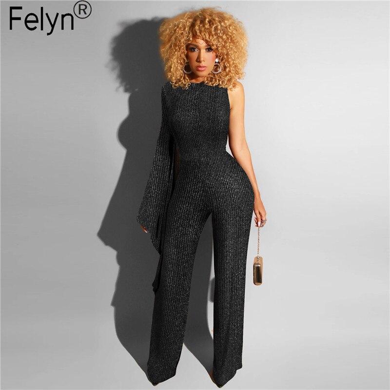 Felyn 2020 nova chegada sexy em linha reta macacões um ombro alargamento manga brilhante brilho night club macacão