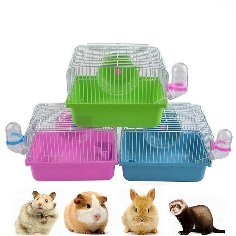Novo pequeno pet run portátil única camada villa gaiola com roda de corrida fonte água alimentador tigela para pet hamster