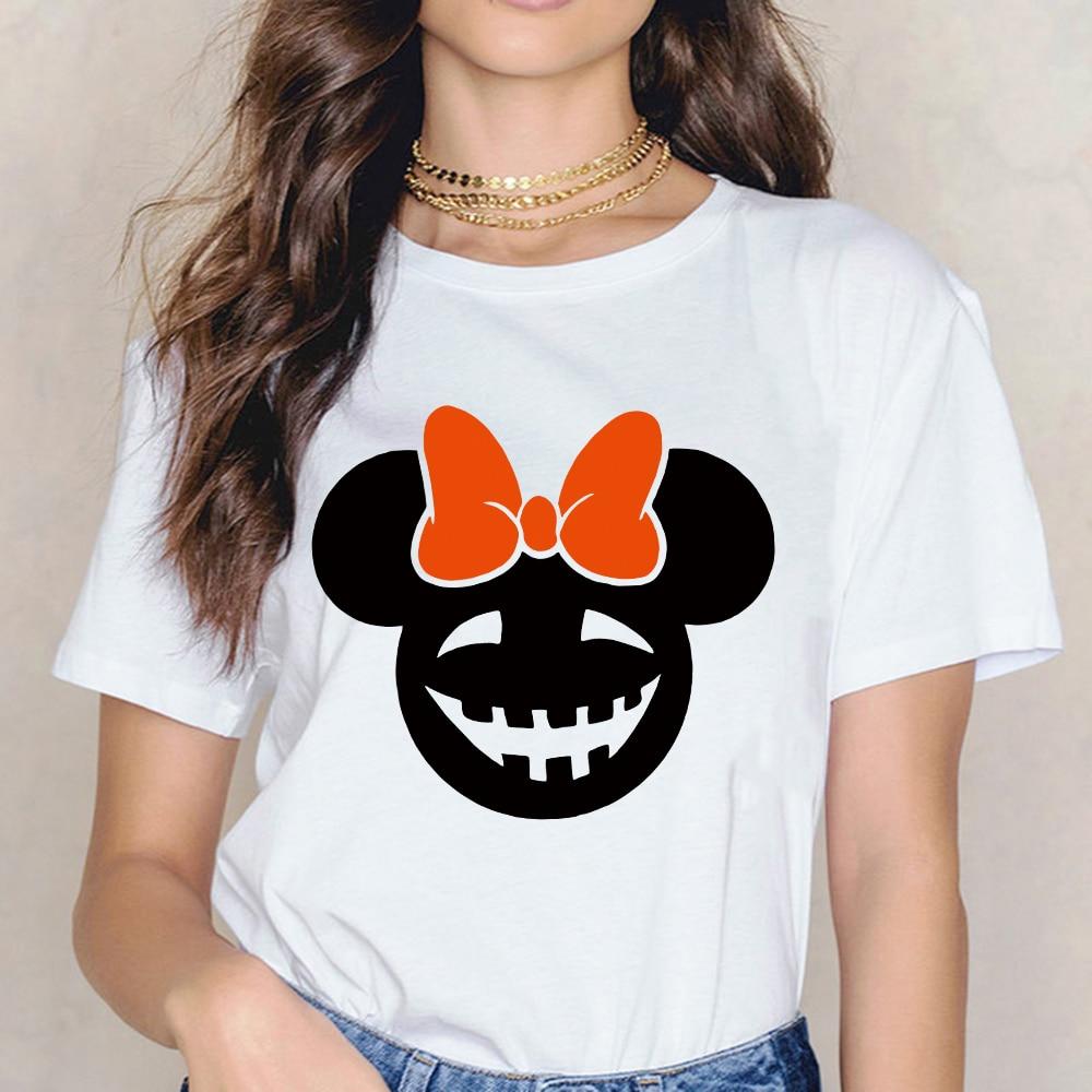 Feminino T-shirt de Manga Curta Arco Halloween Cabeça de Rato T Shirt Mulheres Harajuku Topos Camiseta Mujer Tshirt Do Vintage