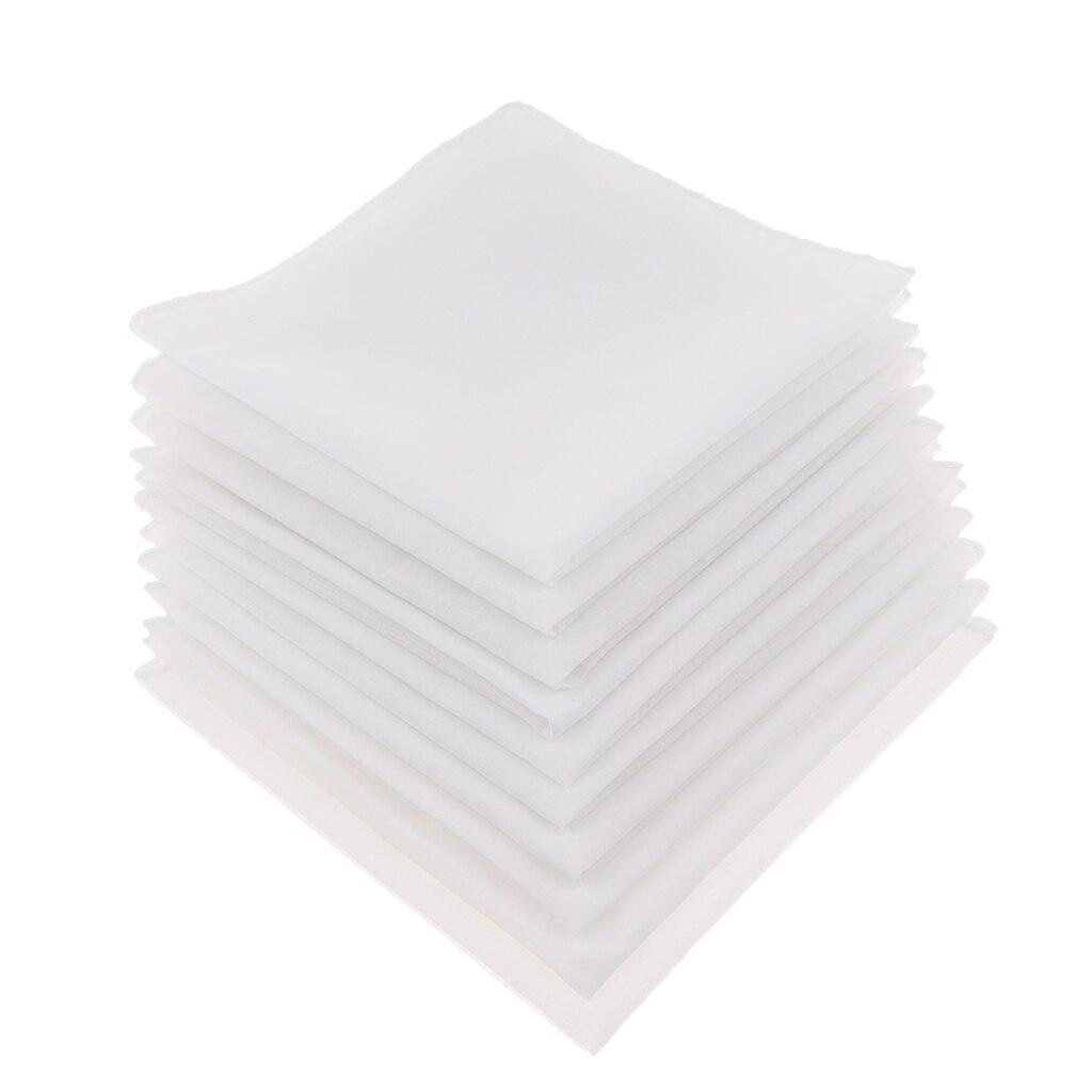 Белый Хлопковый носовой платок, 10 шт., Женский/женский свадебный пустой носовой платок, сделай сам, квадратный носовой платок