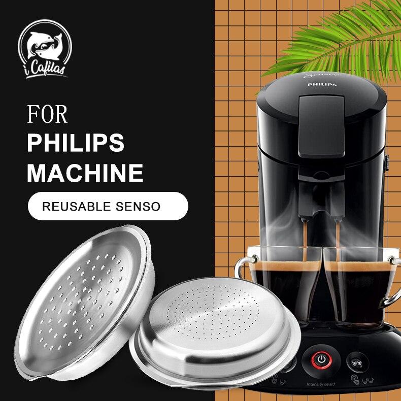 ICafilas-cápsula reutilizable de acero inoxidable para Senseo, filtro de café Espresso, Compatible...