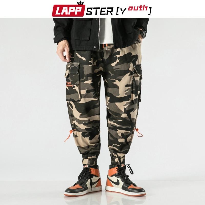 LAPPSTER-Juventud camuflaje pantalones de carga 2020 mono hombre Baggy Camo harén pantalones Patchwork coreano modas Joggers pantalones de chándal
