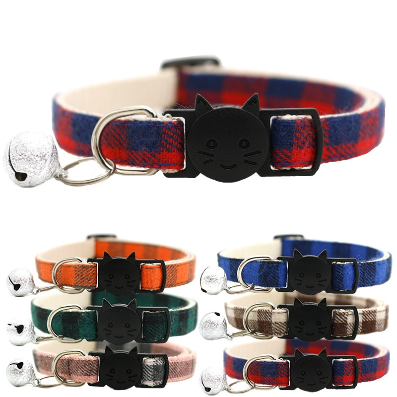 Pet Cat Collar Safety Buckle Plaid Cat Collar With Bell Adjustable Suitable Kitten Puppy Accessories Supplies Cat Buckle Collar contrast tied bell cuff and collar plaid dress