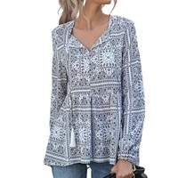 streetwear chic long sleeve tie neck print chiffon shirt comfortable loose shirt tie neck for office
