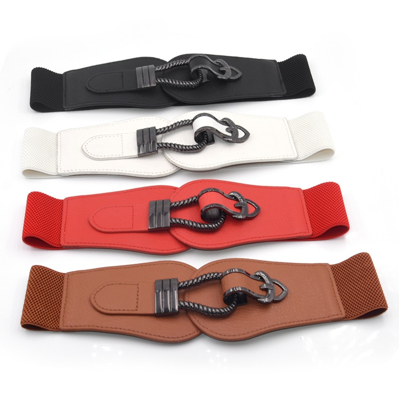 Women Elastic Waist Belt Solid Color Double Buckle Belt All-match Stretchy Belt Cortex Wide Waistbands Female Accessories 1 Pc