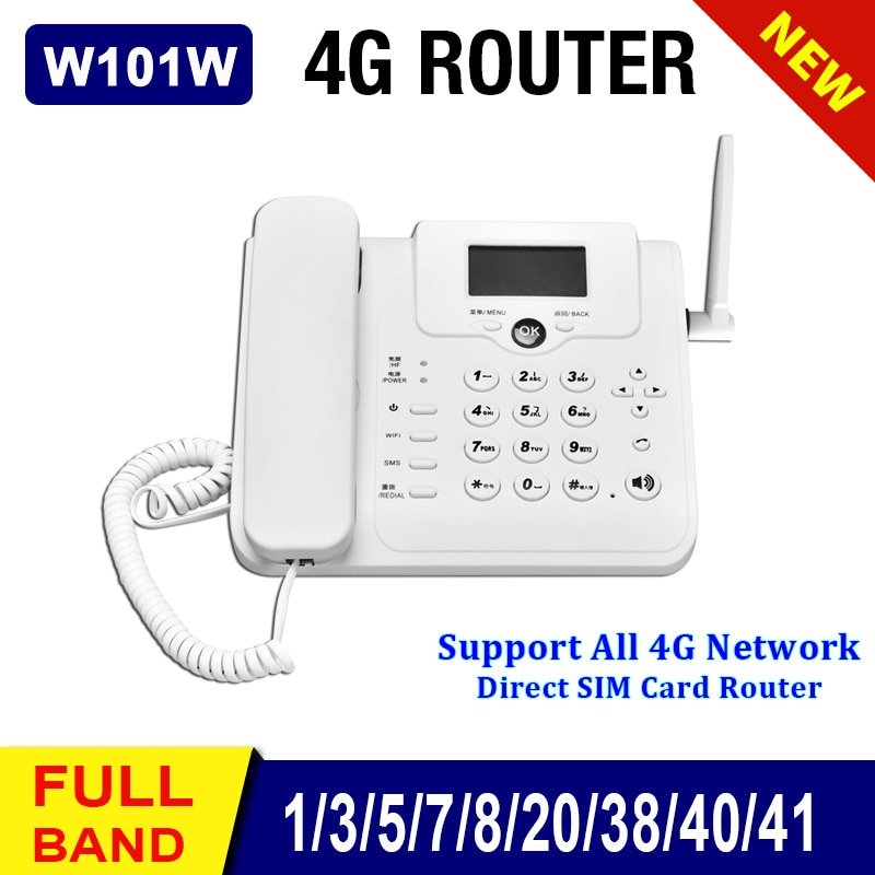 W101W Cordless GSM WIFI 3G/4G SIM Card Fixed Phone Landline Telephone Wireless LTE/FDD Router+Phone For Home/Office/Company