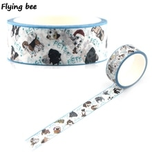20 pièces/lot Flyingbee 15mmX5m papier Washi bande mignon chiens chiot ruban adhésif bricolage Scrapbooking autocollant animaux de compagnie chien ruban de masquage X0339