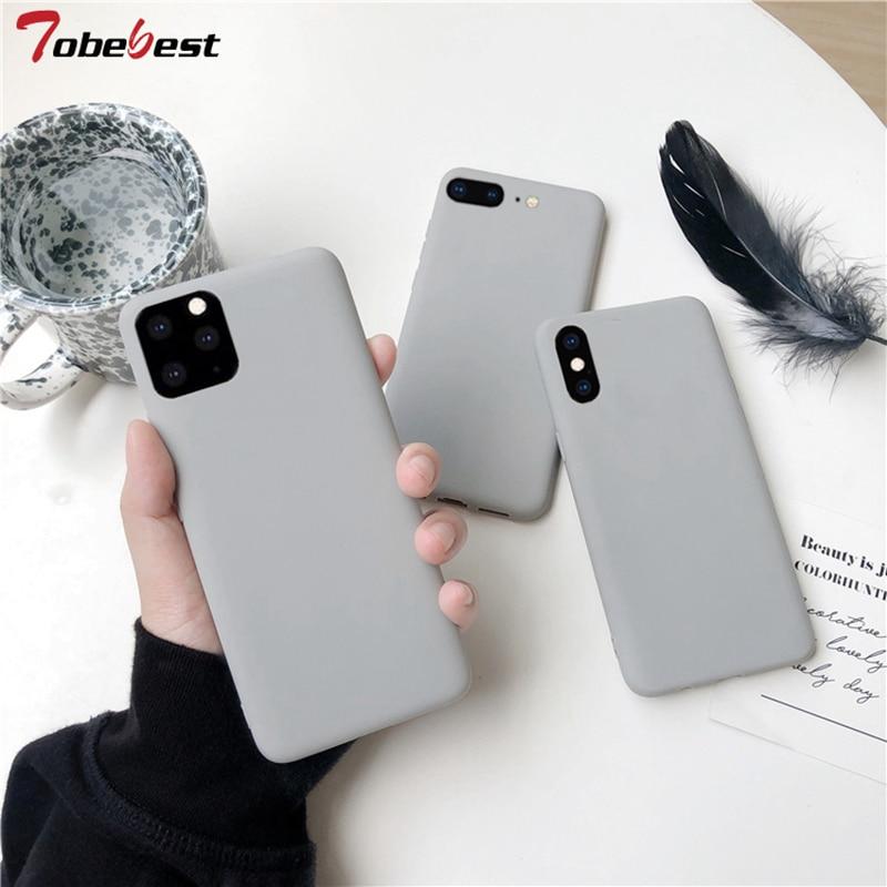 Gris caja mate del teléfono para iphone 11 Pro XS Max XR X 8 7 6S 6 Plus SE 5 5S casos de silicona de Color sólido funda trasera suave TPU