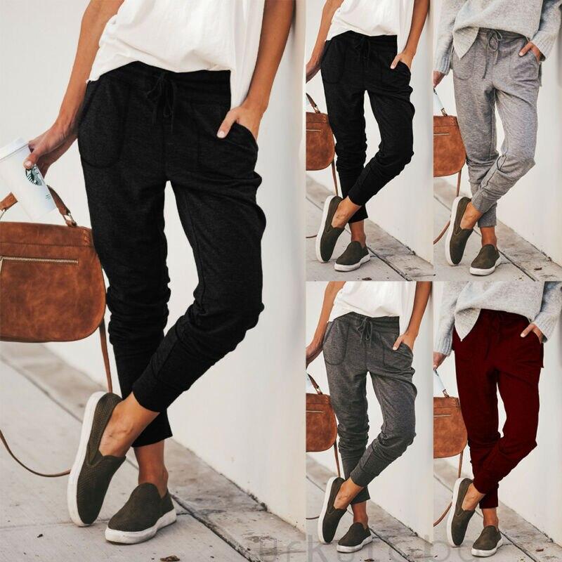 Новые женские спортивные штаны джоггеры повседневные свободные спортивные штаны на завязках для Спортивные Мягкие штаны-шаровары брюки фи...