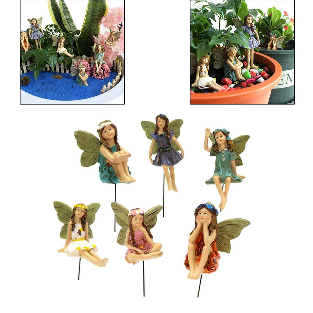 6pc/set Flower Pixie Fairy Miniature Figurine Dollhouse Garden Ornament Gift  - buy with discount