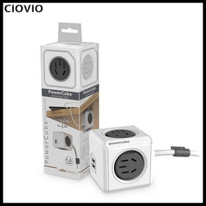 CIOVIO Smart Home Power Cube Socket Plug 4 Outlets With 2USB Creative Power Strip Adapter Multi Switched Sockets