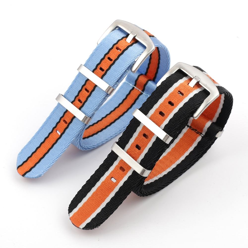 AliExpress - Onthelevel Herringbone Seatbelt Nato Strap 22mm Watchband For Omega Orange Blue Black Stripe Wristband Skin-friendly Material #E