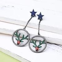 european and american popular personality star long geometric pendant stud earrings female christmas cute hollow elk earrings