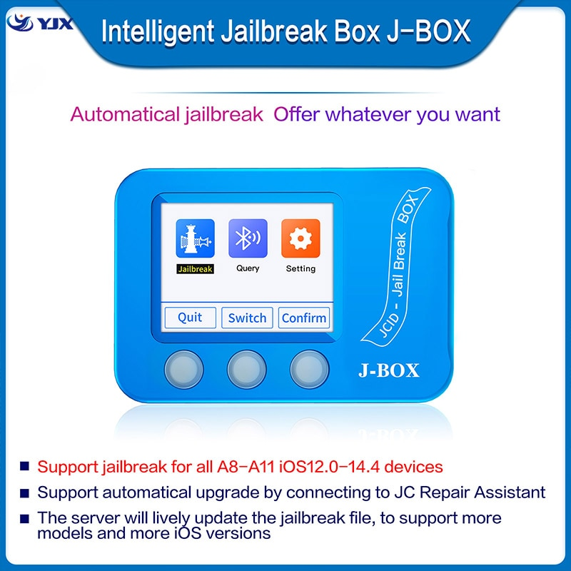 JC J-BOX صندوق الهروب من السجن لمعرف الالتفافية وكلمة مرور Icloud على جهاز IOS جهاز كمبيوتر مجاني/استعلام واي فاي/بلوتوث عنوان الهاتف أداة إصلاح