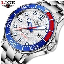 2021 LIGE Fashion Diver Watch For Men Watches Mens Top Brand Waterproof Date Clock Sport Quartz Wris