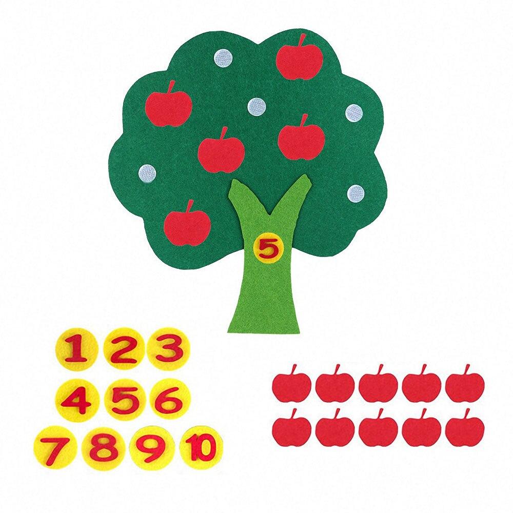 Фетровая ткань яблоня DIY Монтессори дошкольные Развивающие игрушки для детей Дети Цифровые когнитивные цветные материалы Монтессори
