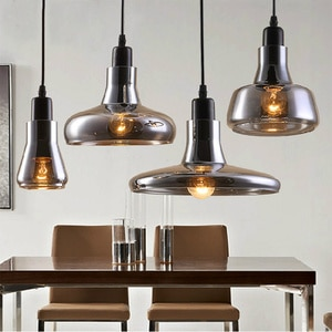 Vintage LED Glass Pendant Light Grey Color Pendant Lamps E27 Bulbs 110V/220V  Room Lamp Home Decoration Light Fixtures