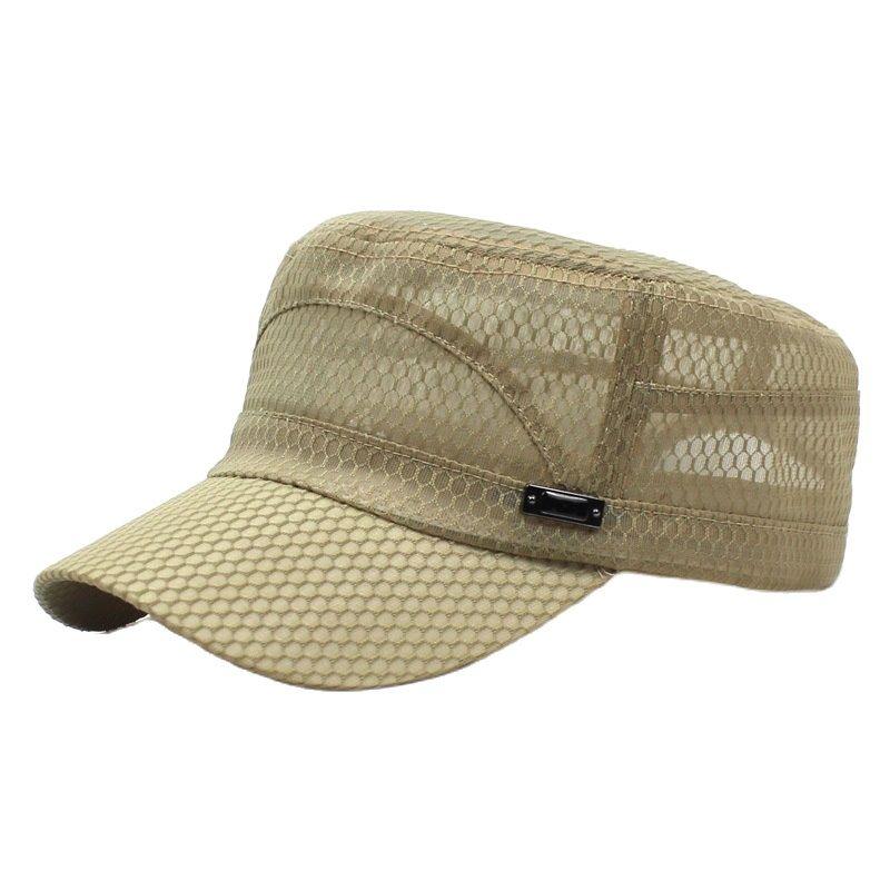 Кепка-бейсболка Мужская с плоским верхом, дышащая повседневная Регулируемая шапка в морском стиле, с козырьком, летняя
