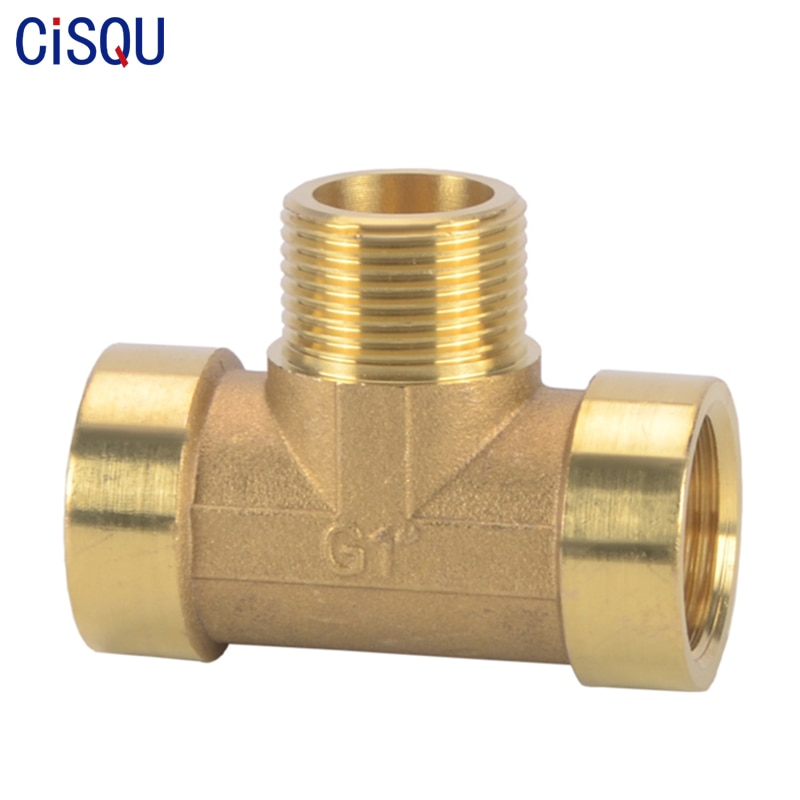brass pipe hex nipple fitting quick adapter 1 8 1 4 3 8 1 2 3 4 1 bsp male thread water oil and gas connector Female×Male×Female Tee Type Brass Pipe Fitting BSP Thread Adapter Water Oil Gas Coupler 1/8 1/4 3/8 1/2 3/4Inch Copper Connector