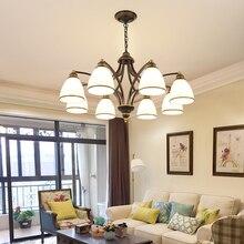 Américain fer verre lustre éclairage moderne Simple maison salon décoration lampe rétro Restaurant chambre or lustres