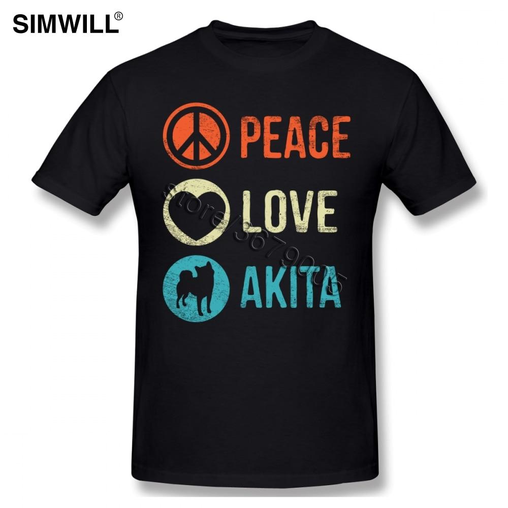 Paz amor Akita mascota amante de los perros regalo camiseta de corazón...