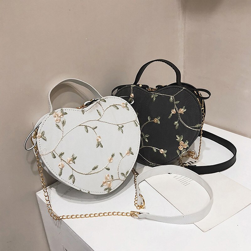 Messenger Bag Women Heart Shaped 2020 New Korean Fashion  Leather Chain Bag Lady Retro Handbag Sweet Girls Flowers Shoulder Bag