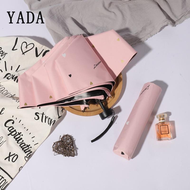 Dobráveis para as Mulheres à Prova de Vento Yada Ultraleve Coração Amor Mini Guarda-sóis Chuva uv Bonito Charme 5 Rosa Ys846 Upf50