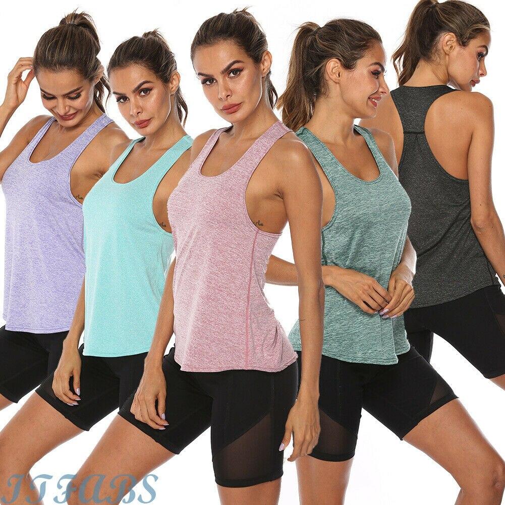 Женская спортивная футболка для занятий йогой, фитнесом, бегом, жилетом, бегом, йогой, топом, 5 видов цветов, женские футболки для йоги, одежда...