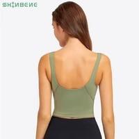 shinbene everyday v neck exercise yoga sport bras top women super comfy longline athletic bras workout tops with built in bra