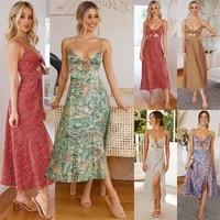 summer women sling split dress sexy v neck backless sleeveless dress bow crop top high waist fashion beach party elegant dresses