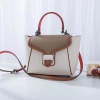 c family leather portable catfish bag flip cover color matching portable fashion one shoulder messenger bag female hot sale in 2