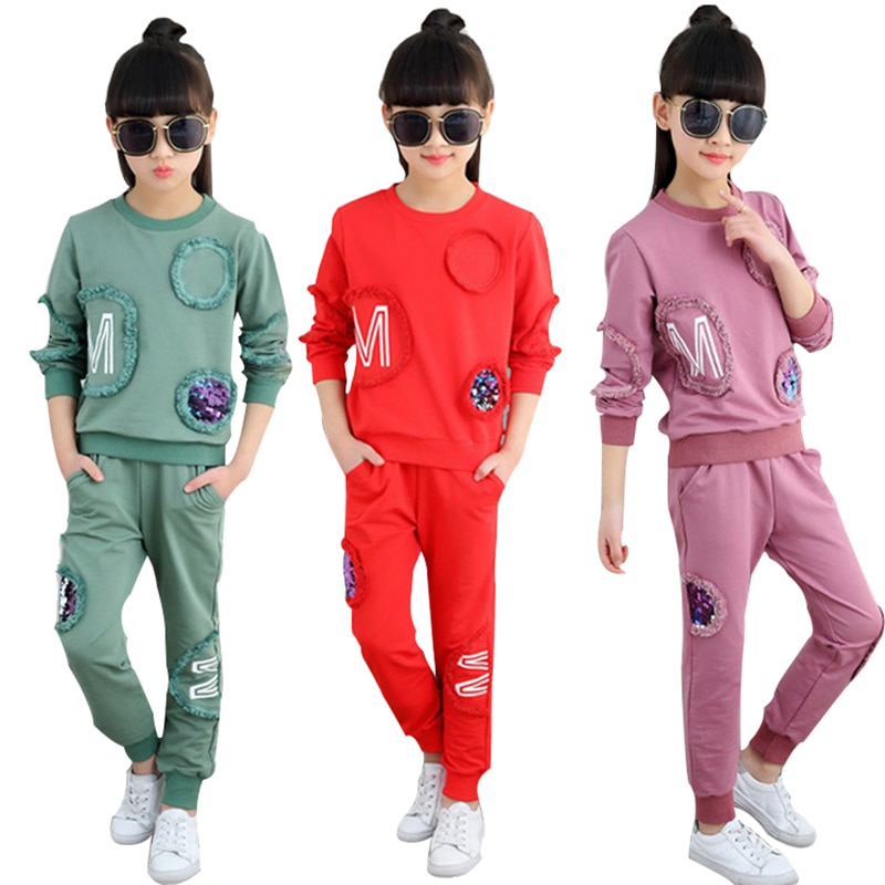 Teen Girls Clothes Set Children Clothing Spring Sequin Long Sleeve Tops+Pants 2 PCS Kids Tracksuit Girls Sports Suits 4 -12 Year