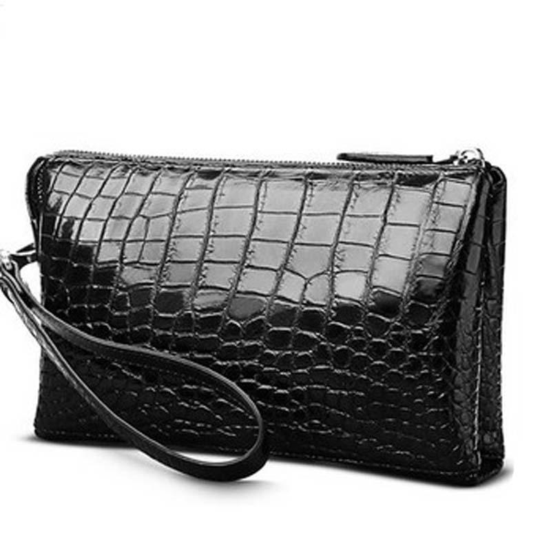 hlt new crocodile bag man bag large capacity without stitching men bag long men clutch bag business bag crocodile leather bag