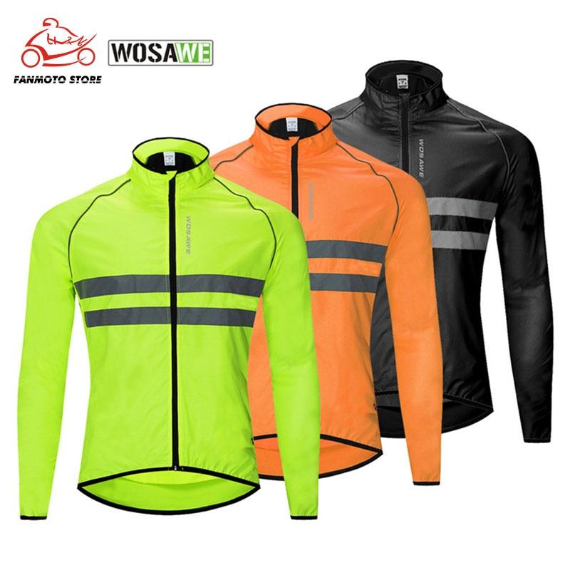 Wosawe jaqueta reflexiva de alta visibilidade windbreakers da motocicleta dos homens de pouco peso segurança motocross mountain bike jaqueta casacos