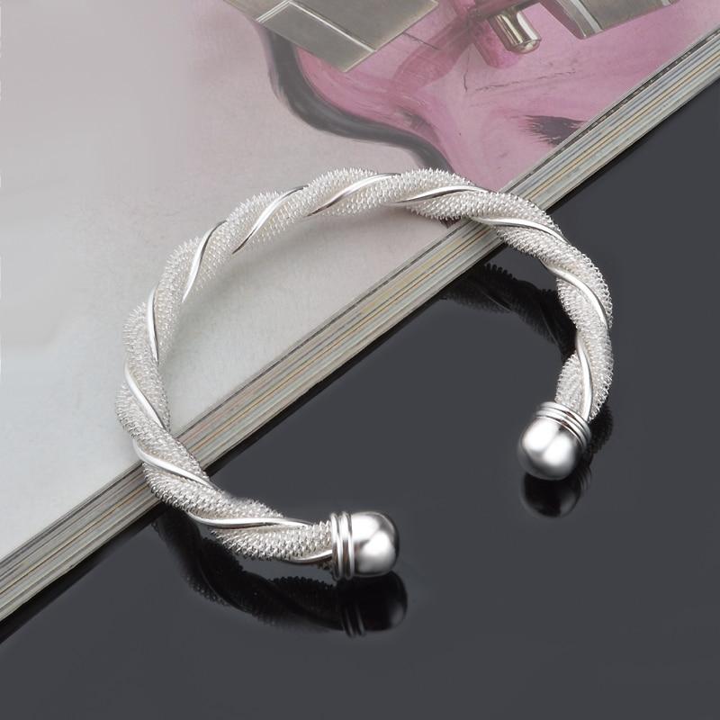 Pulseras de malla de alambre para mujer, brazalete abierto, Pulsera, Pulseras y brazaletes para mujer, regalo de Navidad para hombre y mujer