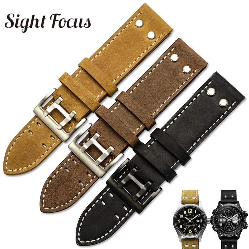 20mm 22mm Crazy Horse Calf Leather Straps for Hamilton Watch Band Rivet Mens Military Pilot Khaki Fi