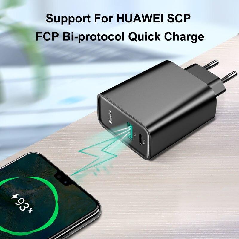 Baseus شحن سريع 4.0 3.0 USB شاحن ل Redmi نوت 7 برو 30 واط PD سوبر تهمة سريع شاحن الهاتف لهواوي P30 آيفون 11 برو