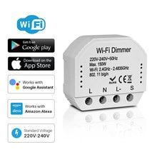 Diy inteligente wi-fi interruptor dimmer 1/2 way controle led interruptor de luz tuya vida inteligente controle remoto funciona com alexa eco google casa
