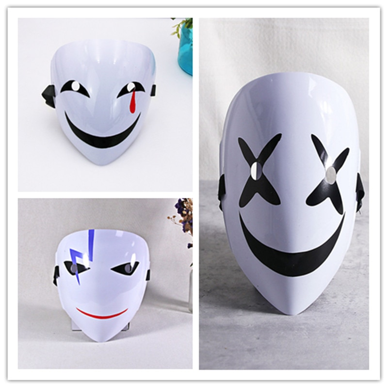 Dark bullet PVC Yin mask dress ghost face cosplay V-shaped clown plastic black contract mask prop